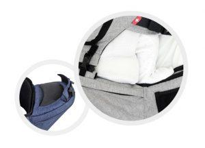 赤ちゃんの脚を適正なポジションに保つ、特別設計のヒップシート